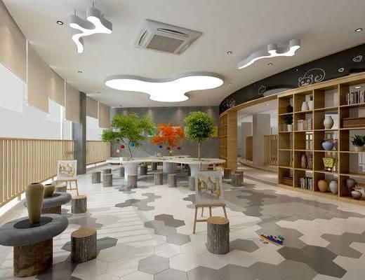 幼儿园手工室, 幼儿园教室, 幼儿园活动室, 幼儿园图书室, 儿童桌椅, 儿童书架
