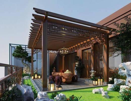 庭院花园, 花园庭院, 门面门头, 吊灯, 茶桌, 凳子, 树木, 草地, 石头, 新中式