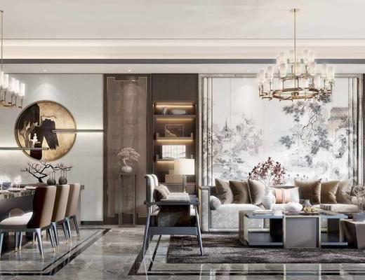 沙发组合, 背景墙, 吊灯, 茶几, 单椅, 餐桌, 墙饰