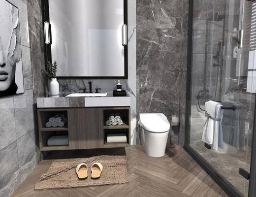 洗手盆, 壁镜, 装饰画, 淋浴区, 柜架组合