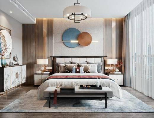 双人床, 墙饰, 床尾踏, 边柜, 摆件组合, 床头柜, 台灯