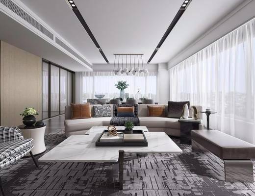 现代客厅, 沙发组合, 沙发茶几组合