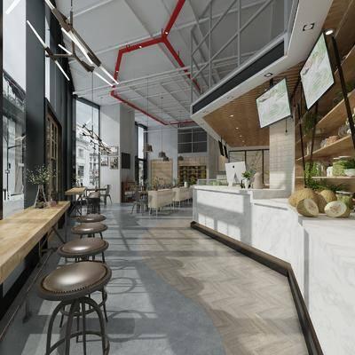 店铺, 奶茶店, 单椅, 吊灯