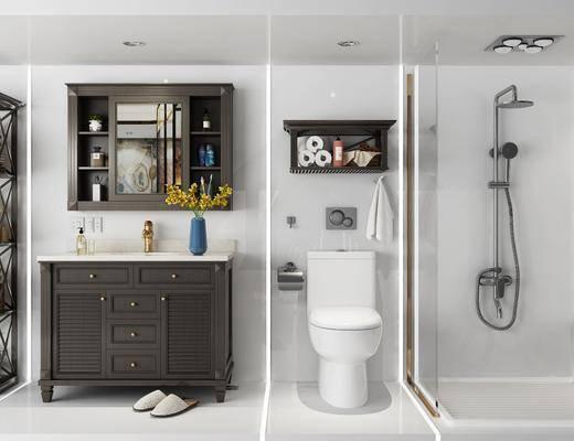 卫浴, 浴室架, 浴室柜, 洗手台, 马桶, 花洒, 浴袍, 摆件组合, 装饰架, 边柜, 摆件, 装饰品, 陈设品, 花瓶花卉, 美式