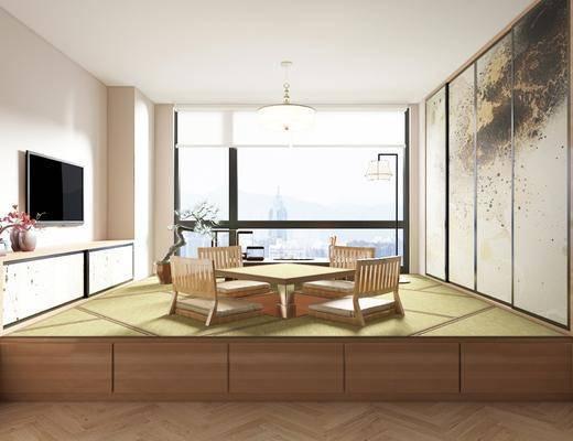 书房, 吊灯, 落地灯, 桌椅组合, 背景墙, 电视柜