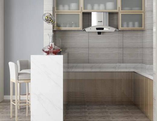 厨房, 吧台, 单椅, 电器, 橱柜组合