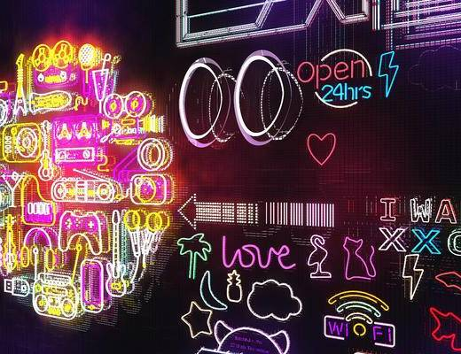 现代霓虹灯夜场3d模型, 壁灯, 装饰灯, 霓虹灯