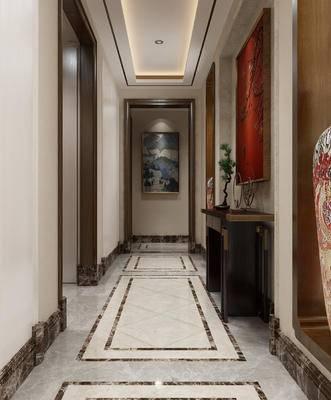 中式玄关, 玄关, 入户, 案几, 中式挂画, 中式陶瓷, 花瓶
