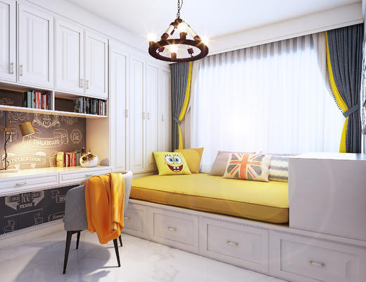 儿童房, 卧室, 现代卧室, 床, 椅子, 吊灯