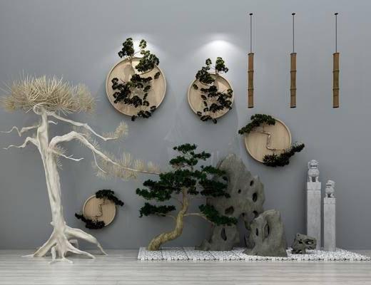 园林小品, 景观小品, 吊灯, 假山墙饰, 干树枝, 雕塑摆件, 摆件组合, 石狮子, 新中式