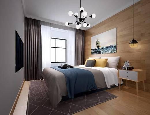 现代卧室, 北欧卧室, 现代儿童房, 现代次卧室, 现代, 卧室, 床, 吊灯, 床头柜, 地毯, 窗帘, 装饰画, 挂画