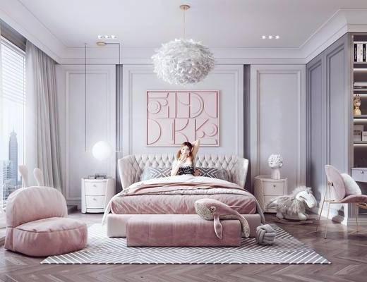 沙发凳, 懒人沙发, 书桌, 书柜, 玩具, 装饰品, 摆件, 吊灯