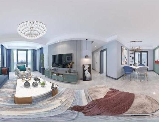 后現代客廳, 客廳, 沙發組合, 餐廳, 餐桌椅