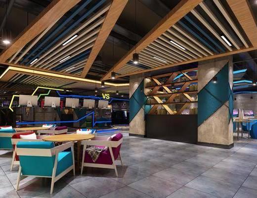 工业风网吧, 现代网吧, 桌椅组合, 桌子, 椅子