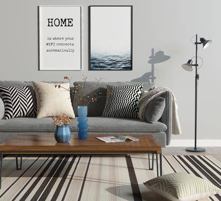 沙发组合, 挂画, 落地灯, 茶几, 多人沙发, 装饰画, 双人沙发, 地毯, 花瓶