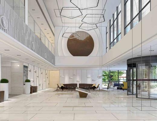 办公大堂, 大堂大厅, 吊灯, 绿植植物, 单人椅, 落地灯, 多人沙发, 旋转门, 现代
