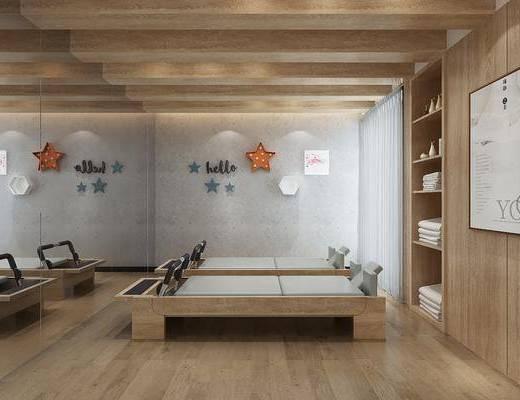 现代瑜伽室, 现代, 毛巾, 储物柜, 装饰画, 墙饰
