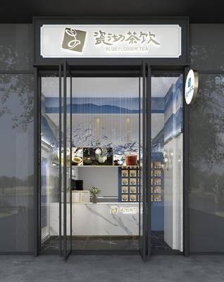 奶茶店, 门面门头, 吊灯组合, 前台, 摆件, 装饰品, 陈设品, 现代