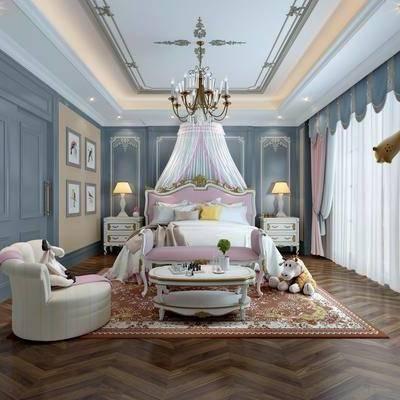 儿童房, 卧室, 简欧卧室, 简欧, 床, 玩具, 床头柜, 台灯, 挂画