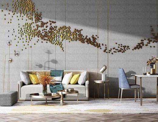 沙发组合, 多人沙发, 边几, 茶几, 餐桌, 餐椅, 单人椅, 墙饰, 落地灯, 摆件, 装饰品, 陈设品, 现代