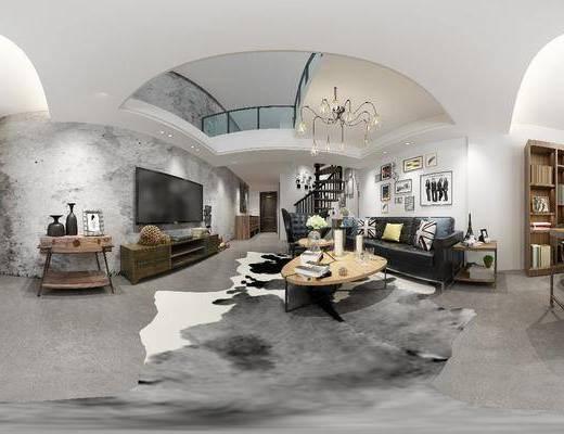 客厅, 沙发组合, 书桌椅, 沙发茶几组合, 多人沙发, 茶几, 边柜, 电视柜, 吊灯, 现代, 北欧