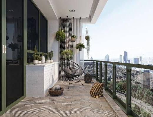 现代, 休闲, 阳台