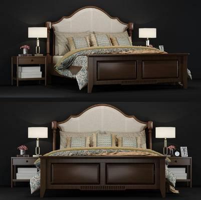 美式, 床, 床具, 床头柜, 台灯