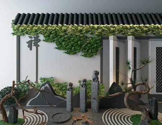 园林景观, 植物墙, 植物, 景观组合, 树木, 新中式