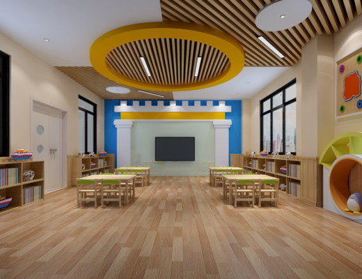 幼儿园, 电视, 教室, 椅子, 装饰柜