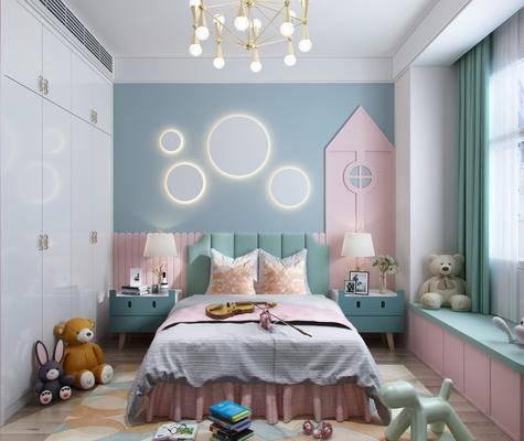 現代兒童房, 兒童房, 雙人床