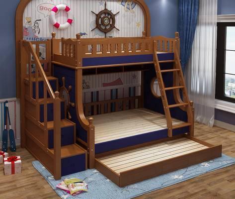 地中海, 儿童床, 墙饰, 卧室