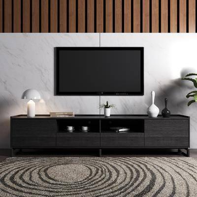 电视柜, 边柜, 装饰柜, 盆栽, 绿植, 台灯, 饰品, 装饰品, 摆件, 现代