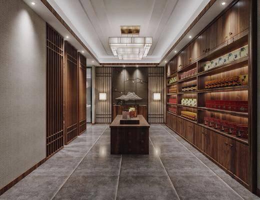 茶室, 茶叶店, 茶具, 隔断, 中式, 新中式