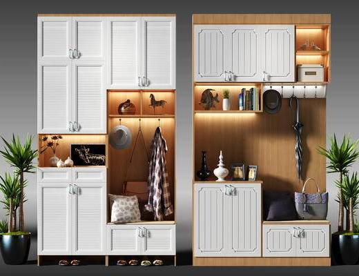 鞋柜, 玄关柜, 玄关鞋柜, 装饰柜, 边柜, 衣服, 雨伞, 包, 鞋, 盆景, 植物