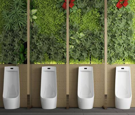 小便斗, 綠植植物, 植物墻, 現代