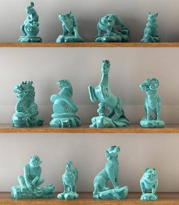 新中式, 摆件, 陶瓷, 瓷器, 十二生肖, 装饰品