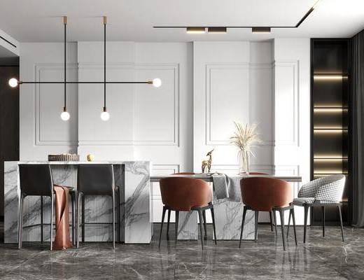 餐桌, 吊灯, 单椅, 摆件, 花瓶