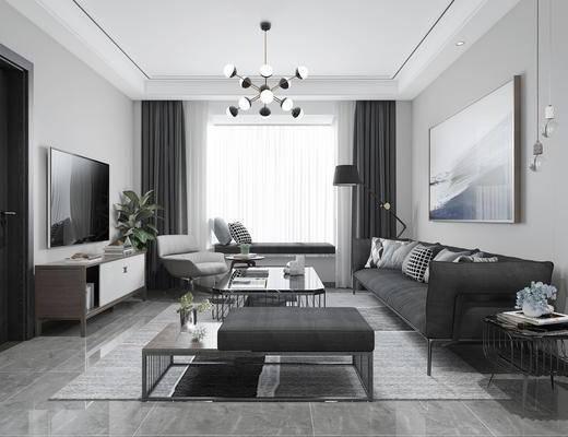 现代客厅, 客厅, 沙发, 餐厅, 现代餐厅, 桌椅组合, 餐桌, 椅子, 厨房, 吊灯, 边柜, 电视柜, 盆栽, 落地灯, 挂画, 边几, 多人沙发