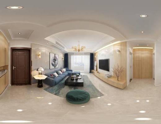 现代, 吧台, 隔断, 全景模型, 客厅, 餐厅, 餐桌椅, 餐桌, 椅子, 沙发, 电视柜