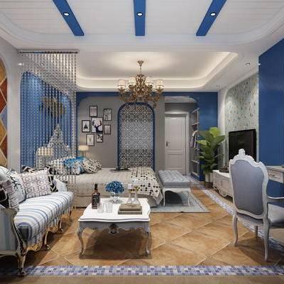 卧室, 地中海, 沙发组合, 沙发茶几组合, 床, 桌椅