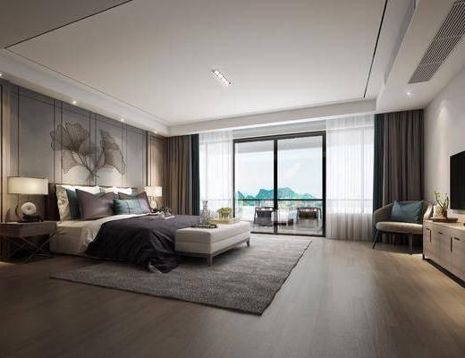 卧室, 双人床, 电视柜, 边柜, 装饰柜, 单人椅, 床头柜, 台灯, 墙饰, 床尾凳, 摆件, 装饰品, 陈设品, 新古典