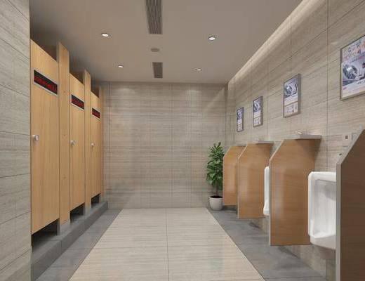現代公共衛生間3d模型, 男廁, 廁所