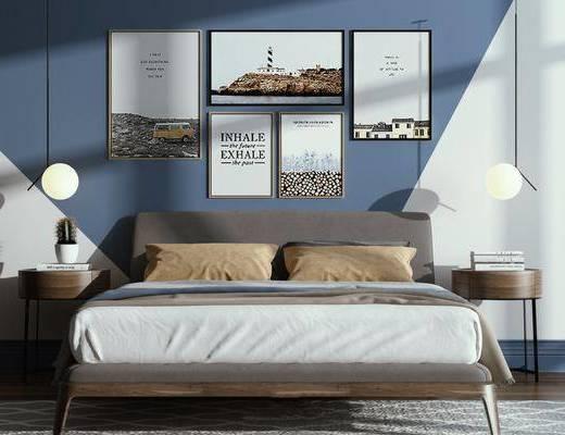 现代床, 卧室, 床头柜, 灯具, 装饰画