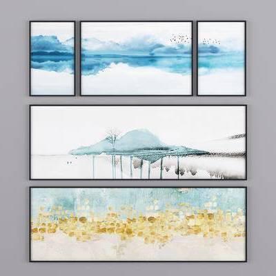新中式挂画, 挂画装饰画, 山水画, 抽像画, 现代挂画