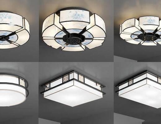 新中式吸顶灯组合, 新中式, 吸顶灯