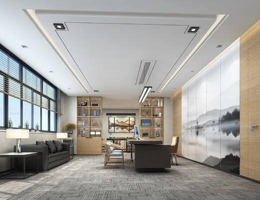 办公室, 新中式, 经理室, 桌椅, 椅子, 桌子, 沙发
