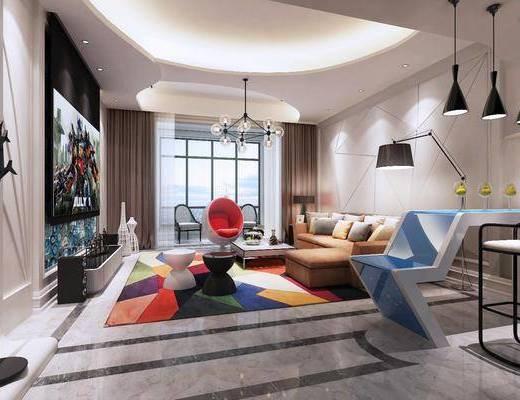 现代, 现代客厅, 吧台, 球形椅, 凳子, 布艺沙发