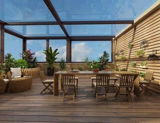 阳台, 露台, 现代阳台, 桌椅组合, 花草
