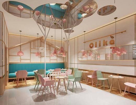 餐厅, 吊灯, 桌椅组合