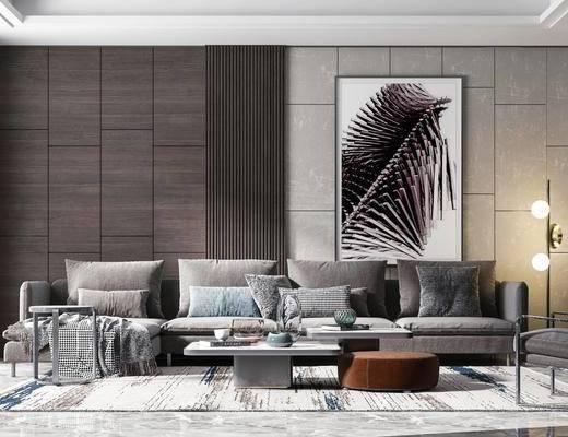 沙发组合, 装饰画, 茶几, 摆件组合, 落地灯